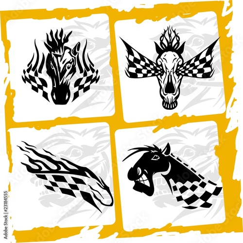 Vecteur : The head and skull.Racing Horses.