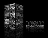 Abstract design and typography background with 3D element poster