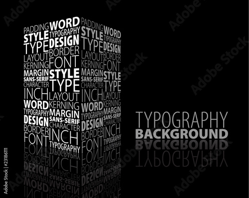 Abstract design and typography background with 3D element