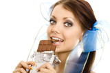 pigtails girl eat chocolate closeup isolated poster