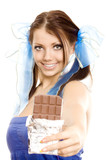 pigtails girl suggest chocolate isolated poster
