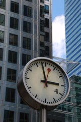 time is money - clock at Canary Wharf, London