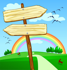 Cartello a forma di freccia, verso l'arcobaleno
