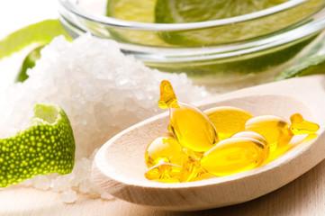 lemon bath - bath salt, capsule and fresh fruits