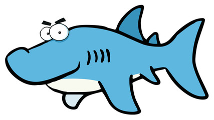 Smiling Shark Cartoon Character
