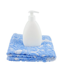 Towel and piece of soap isolated on white background
