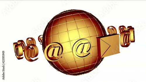 3D mail white background