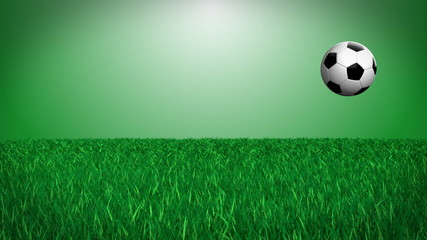 CGI soccer ball on grass - loops, alpha channel