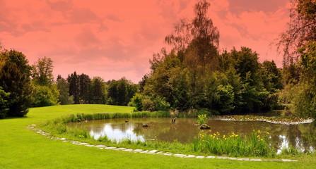jardin public et étang