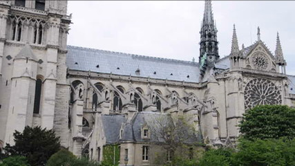 pan video details of Notre Dame Cathedral Paris France