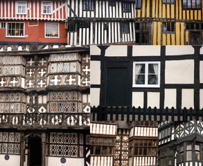 Half-timbered english houses collage