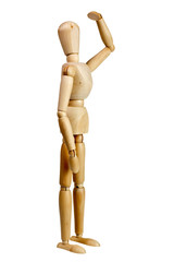 Wooden mannequin look far away isolated on white
