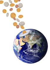 Planet earth catching falling dollars