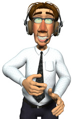 3d businessman headphone smille