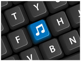 MUSIC Key on Keyboard (live media player listen web button icon) poster