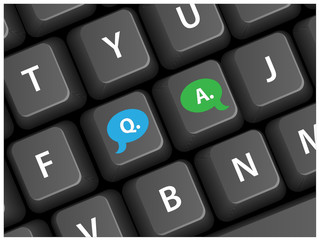 """Q&A"" keys on keyboard (help tech support faq online)"