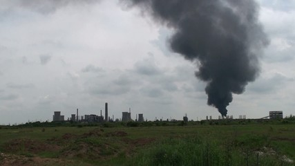 View of old, polluting factories