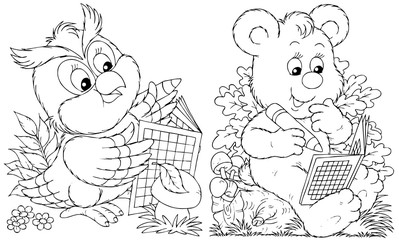 Owl and Bear solve crossword puzzles