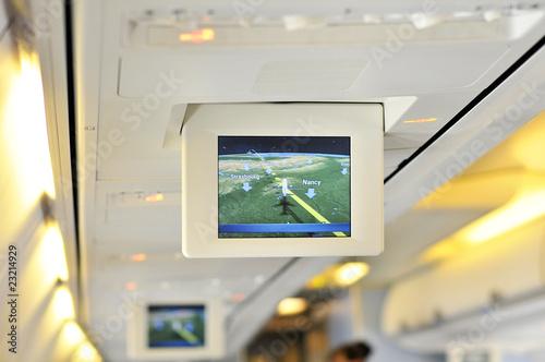 Airplane  interior flight info screen