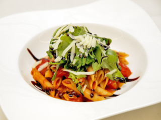 penne with fresh tomato sauce & arugula