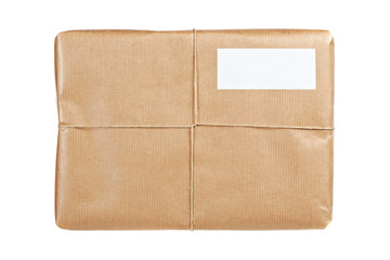 Brown package with blank label