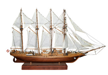 Antique Model Sailing Ship with path