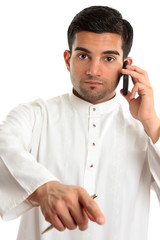 Arab ethnic man pointing finger