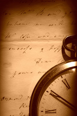 Vintage watch and old letter