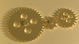 Golden gearwheels background