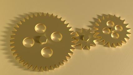 Golden gearwheels background