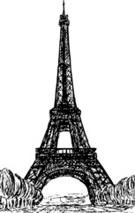vector - Eifel Tower in Paris , Europe