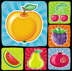 Colorful fruity icons set 2