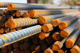 Closeup of concrete reinforcement steel rods in warehouse poster
