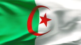 Creased Algerian satin flag in wind with seams and wrinkle poster