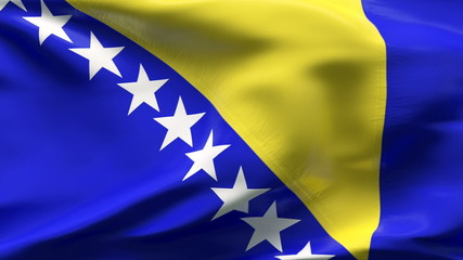 Creased Bosnian satin flag in wind with seams and wrinkle