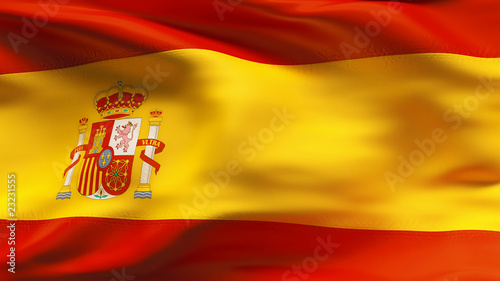 Creased Spanish satin flag in wind with seams and wrinkle