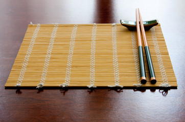 Chopsticks and table mat