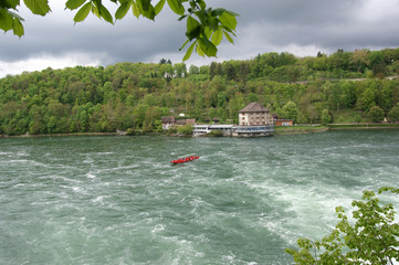 Waterfall Rhine Falls (Rheinfall) at Schaffhausen in Switzerland