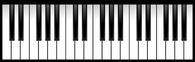 set of piano keys in illustration, black and white