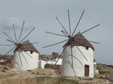 restored old windmills in Ios Cyclades Greek Island poster