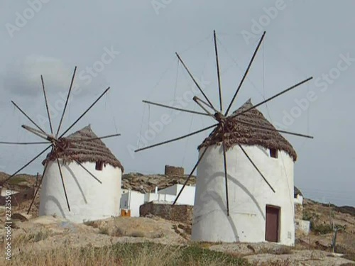 poster of restored old windmills in Ios Cyclades Greek Island