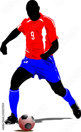 Soccer player. Colored Vector illustration for designers