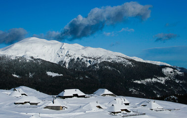 alpine vilage in snow