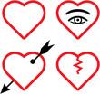 Vector valentines and broken hearts illustration