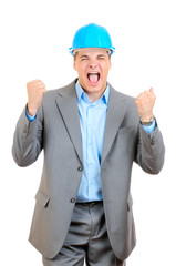Happy engineer with blue hard hat