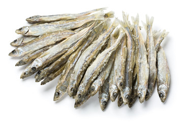 Dried salted sprat(smelt) isolated on white.