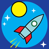 Vector space sci-fi retro rocket illustration poster