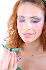 Red-haired woman with butterfly