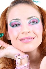Red-haired woman with makeup