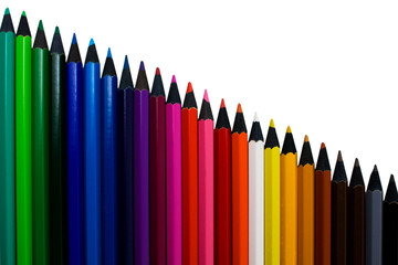 A set of colored pencils isolated on a white background
